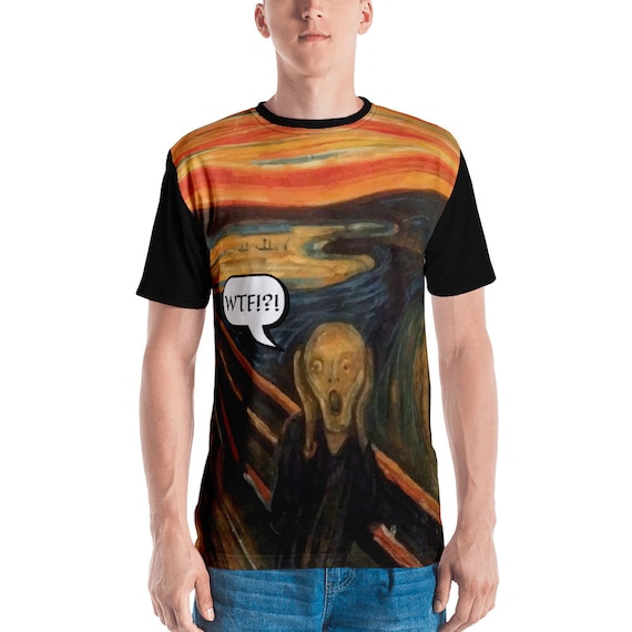 The Scream WTF!?!, Unisex T-shirt, Black Sleeves And Collar, Vintage, Antique Painting, Edvard Munch, 1893