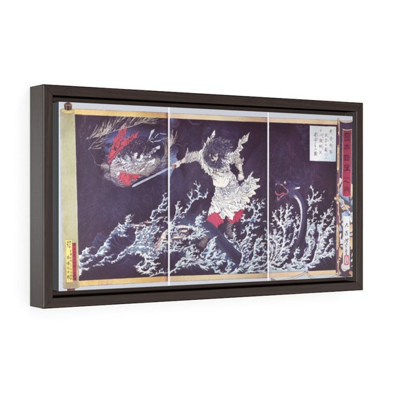 "Susanoo Slaying The Yamata No Orochi, 20""x10"" Framed Gallery Wrap Canvas, Japanese Folklore, Sea Dragon, Sea Serpent, Sea Monster"