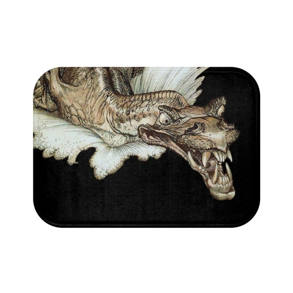 Leviathan Bath Mat, Arthur Rackham, Sea Dragon, Sea Monster, Sea Serpent