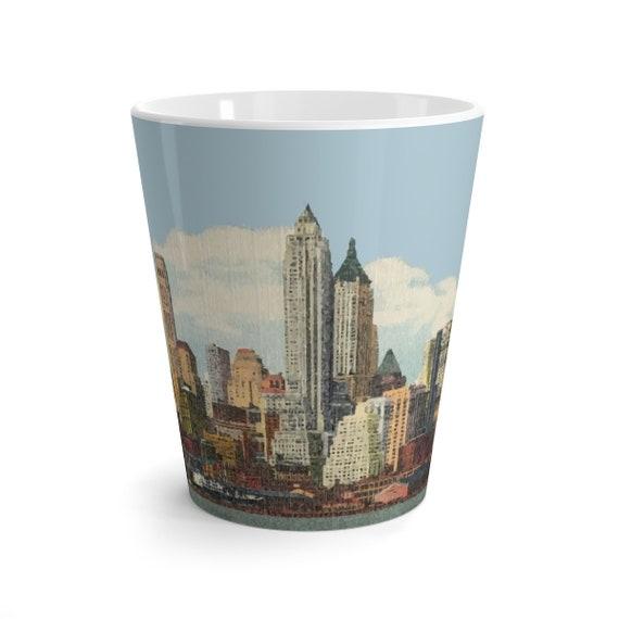 Lower Manhattan 1944, 12oz Latte Mug, Vintage Postcard, Curt Teich, New York City, Americana, Coffee, Tea
