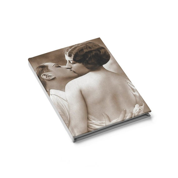 Lesbian Kiss, Hardcover Journal, Blank Page, Vintage Jazz Age Photo, Circa 1920.