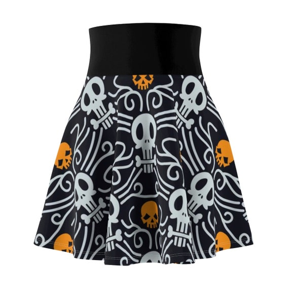 Day Of The Dead Skater Skirt, Vintage Inspired Traditional Pattern For Día De Muertos