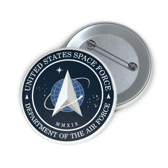 """Space Force Insignia Logo, 2"""" Pin Button, From Official USSF Seal, Military"""