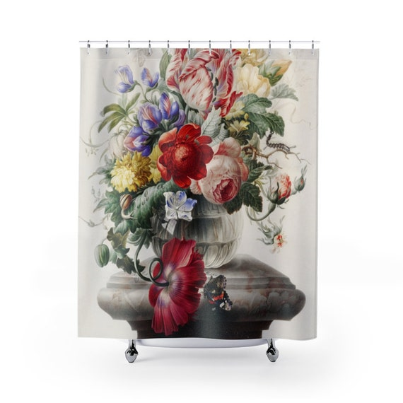 Flowers In A Vase On A Pedestal Shower Curtain, Early 18th Century Still Life