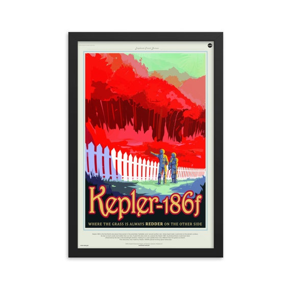 "Exoplanet Travel Bureau #5 of 7, 12"" x18"" Framed Poster, Black Wood Frame, Acrylic Covering, Fake Vintage/Retro Style NASA Travel Poster"