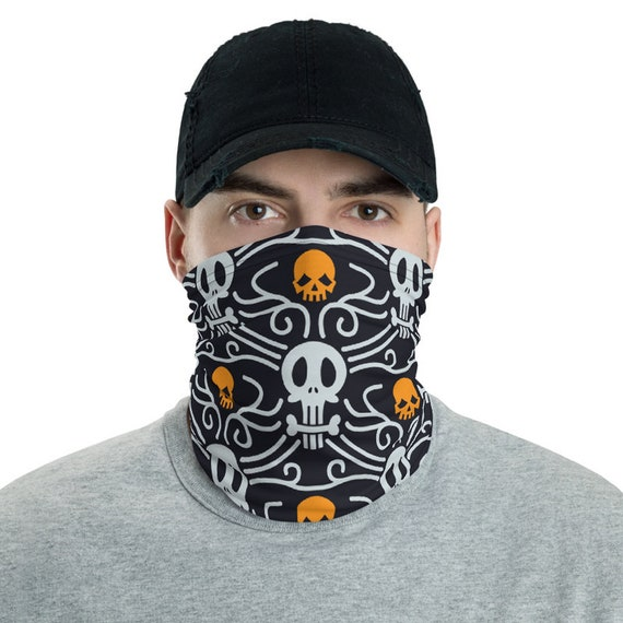Day Of The Dead, Neck Gaiter, Inspired From Traditional Pattern For Día De Muertos, Headband, Bandana