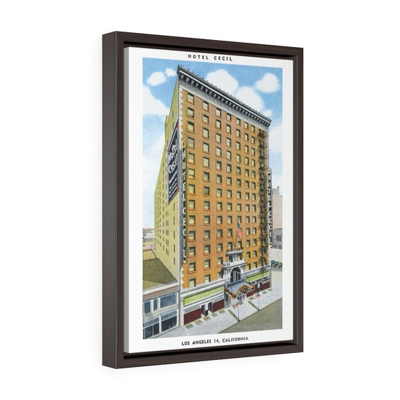 "Hotel Cecil Los Angeles, 12""x18"" Framed Gallery Wrap Canvas, AKA Horror Hotel, From A Vintage Postcard Circa 1930, Americana"