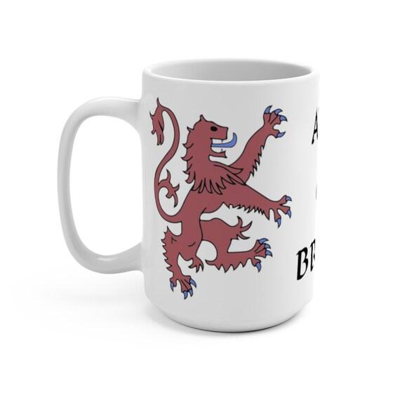 Lion Rampant of Scotland v3, 15oz White Ceramic Mug, Royal Banner of the Royal Arms of Scotland