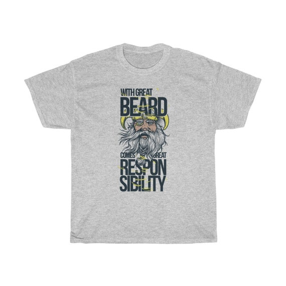 With Great Beard Comes Great Responsibility - Heavy Cotton Tee - Vintage Inspired Image Of Norse God Odin.