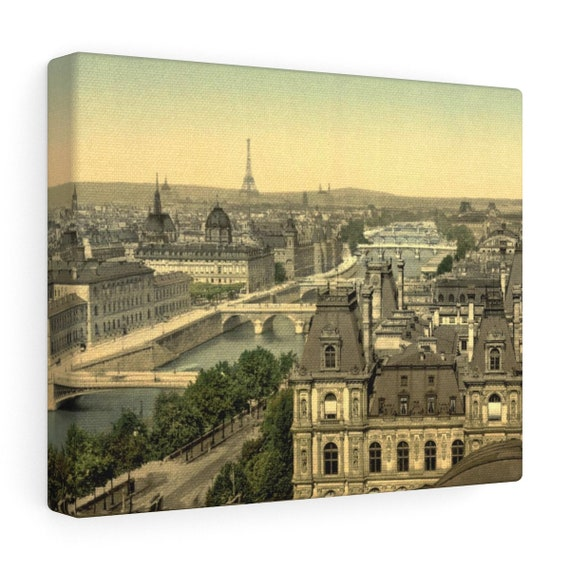 Wrapped Canvas With Vintage Photo Of Paris From An Antique Postcard Circa 1890 To 1900