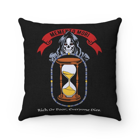 Memento Mori, Spun Polyester Square Pillow, Vintage Inspired Image, Death, Grim Reaper, Black Cowl, Hourglass