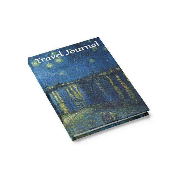 Starry Night Over the Rhône, Travel Journal, Hardcover, Ruled Line, Vintage Painting, Vincent Van Gogh, 1888