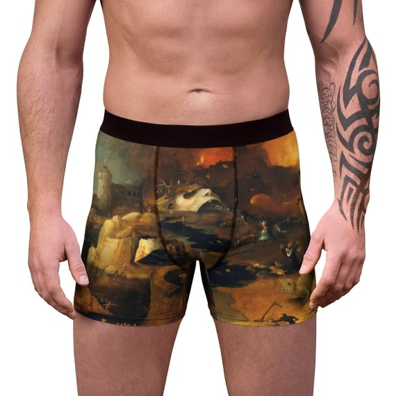 Descent Into Hell, Men's Boxer Briefs, Painting By Follower Of Hieronymus Bosch, Circa 1550