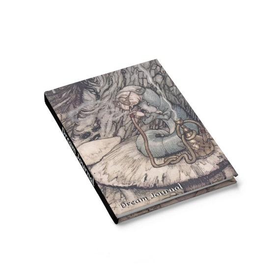 Wonderland Dream Journal, Hardcover Journal, Ruled Line, Alice, Hookah Caterpillar, Vintage Illustrations, Arthur Rackham, 1907, Mushroom