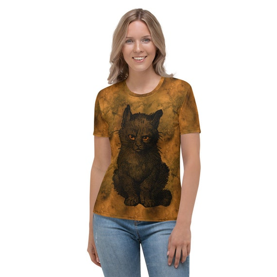 Witches Familiar, Women's Top, Black Cat, Halloween, All Hallows Eve, AOP, Witchcraft