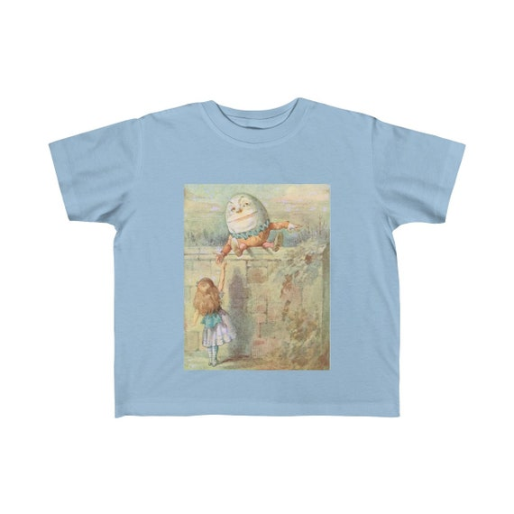Alice Meets Humpty Dumpty, Kid's Fine Jersey Tee, Vintage Illustration, 1911 Edition Alice's Adventures In Wonderland