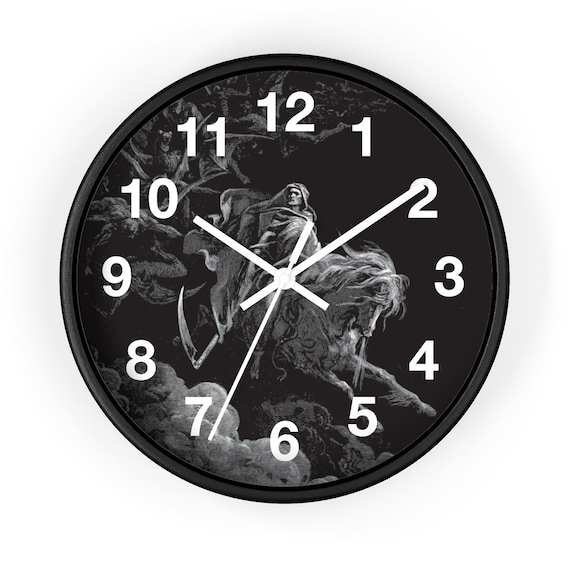 """Death Rides The Pale Horse, 10"""" Wall Clock, Vintage, Antique Illustration, Gustave Dore, 1865"""