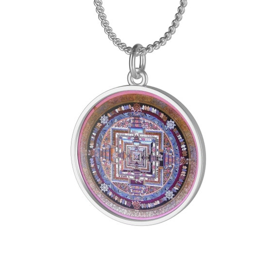 Kalachakra Mandala, Sterling Silver Necklace, Wheels Of Time, Vintage Spiritual/Meditation Symbol