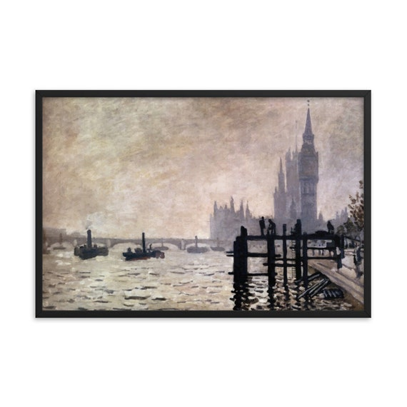 "The Thames Below Westminster 36""x24"" Framed Giclée Poster, Black Wood Frame, Acrylic Covering, Claude Monet"