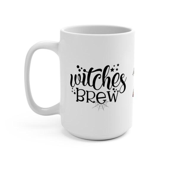 Alice's Witches Brew, White 15oz Ceramic Mug, Vintage Illustration, Alice In Wonderland, Halloween, Witchcraft, Coffee, Tea