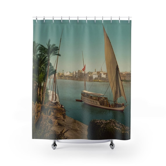 Nile Sailboat Near Cairo Egypt, Shower Curtain, From An Antique/Vintage Victorian Postcard