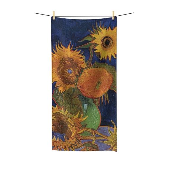 Six Sunflowers, Bath Towel, Vintage Painting, Van Gogh 1888