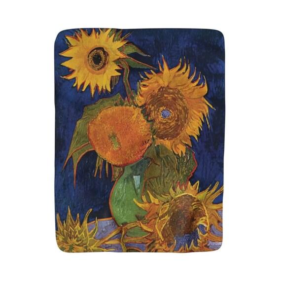 "Six Sunflowers, Sherpa Fleece Blanket, Vintage, Antique Painting, Vincent Van Gogh, 1888, 50""x60"""