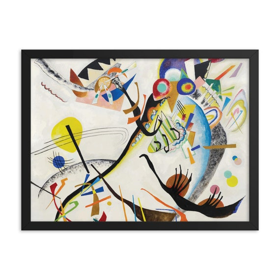 """Blue Segment, 24"""" x 18"""" Framed Giclée Poster, Black Wood Frame, Acrylic Covering, Wassily Kandinsky, Abstract"""