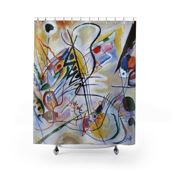Violet Wedge, Shower Curtain, Vintage Abstract Painting, Wassily Kandinsky, 1919