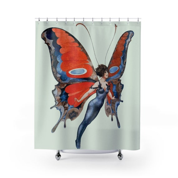 Butterfly Woman, Shower Curtain, Vintage, Antique Jazz Age Illustration