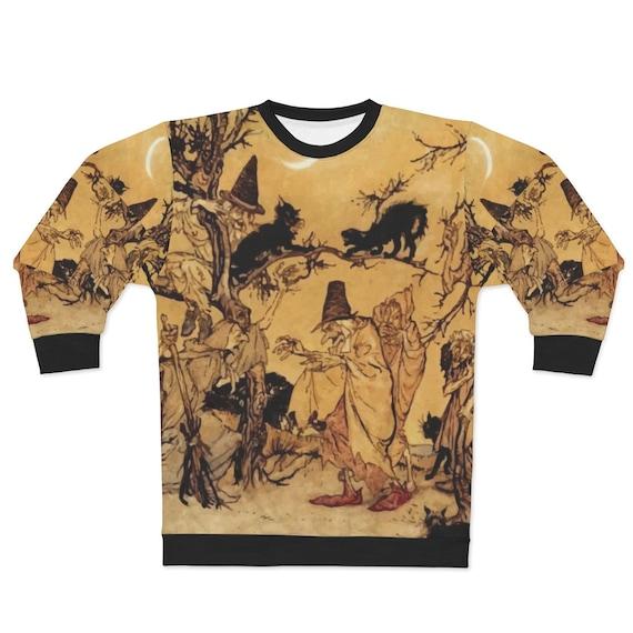 Black Cats & Witches, Unisex Sweatshirt, Halloween, Vintage Illustration, Arthur Rackham, AOP, Witchcraft