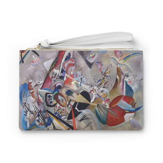 """In Gray 9""""x6"""" Vegan Leather Clutch Bag, Kandinsky, Abstract"""