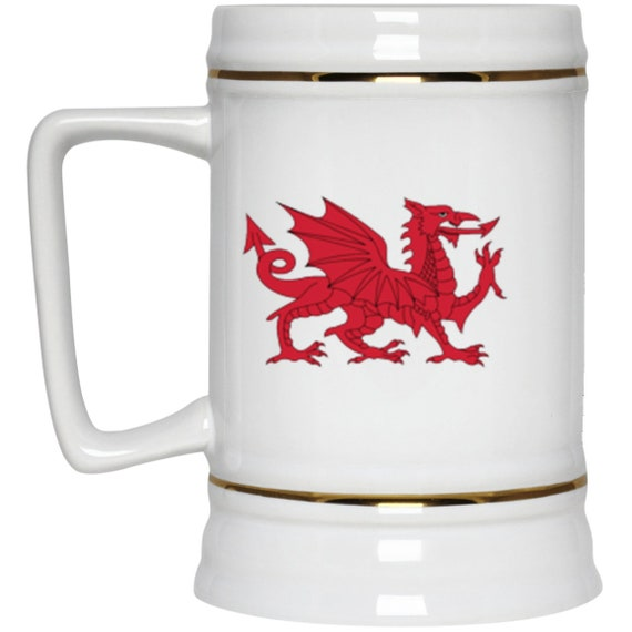 Cymru Am Byth 22oz Beer Stein, Red Dragon, Flag Of Wales, Welsh Motto, Welsh Pride