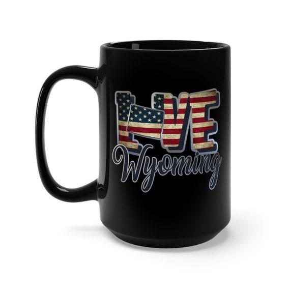 I Love Wyoming, Large Black Ceramic Mug, Vintage Retro Flag, Patriotic, Patriotism, United States, Coffee, Tea