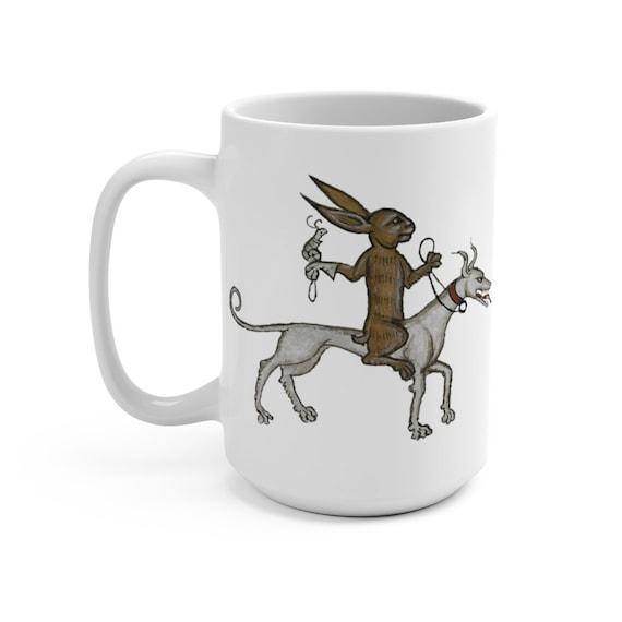 Medieval Rabbit With Pet Snail White 15oz Ceramic Mug, From Medieval Manuscript, Marginalia, Coffee, Tea