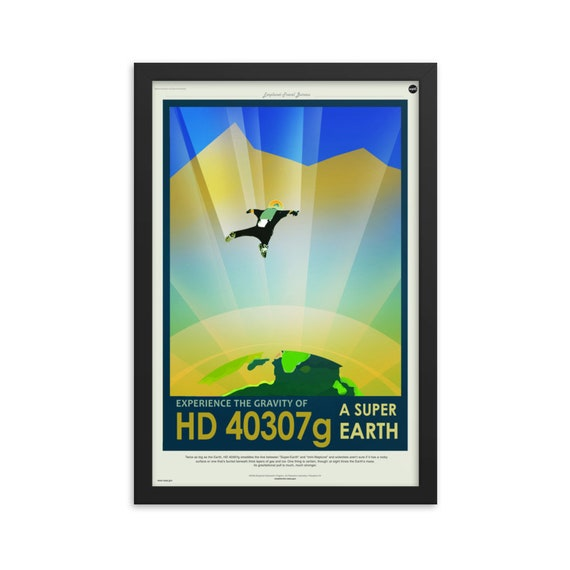 "Exoplanet Travel Bureau #3 of 7, 12"" x18"" Framed Poster, Black Wood Frame, Acrylic Covering, Fake Vintage/Retro Style NASA Travel Poster"