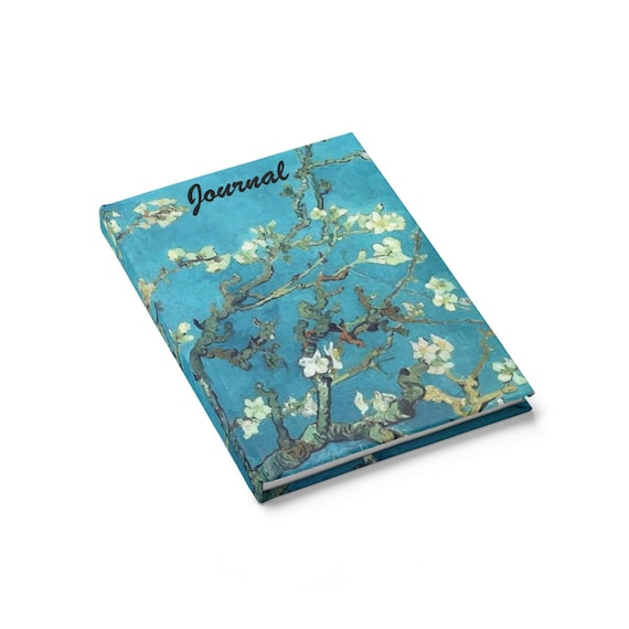 Almond Blossoms, Hardcover Journal, Ruled Line, Opens Flat, Vintage Painting, Van Gogh 1890