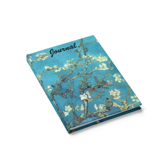 Almond Blossoms, Hardcover Journal, Ruled Line, Opens Flat, Vintage Painting, Van Gogh 1890, Notebook