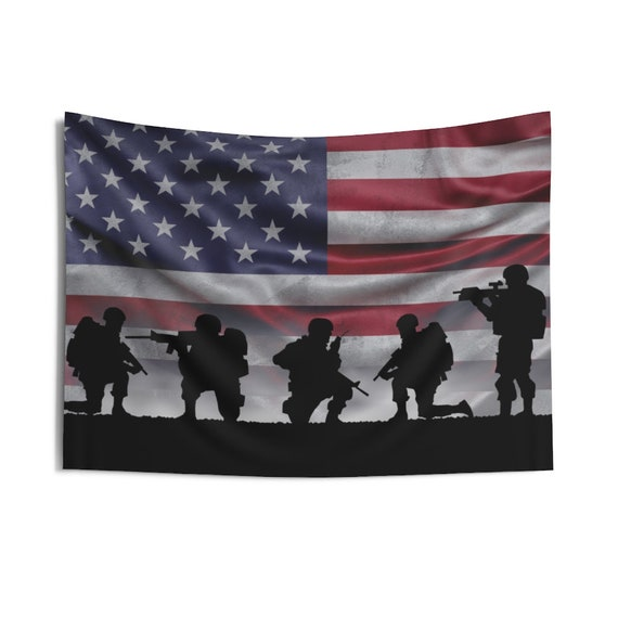 """American Soldiers, 36""""x26"""" Indoor Wall Tapestry, American Flag, Patriotic, Patriotism, U.S. Military, Wall Decor, Room Decor"""