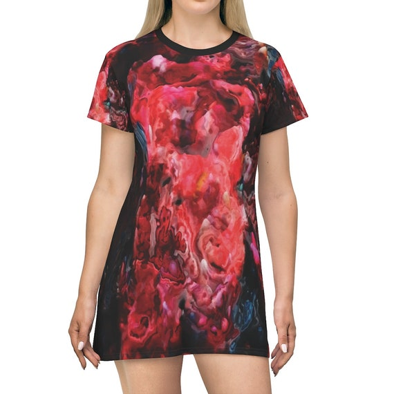 Red Nebula, T-shirt Dress, Long Flared Top, Long T-shirt, Comfy Sleep Shirt, Abstract, AOP