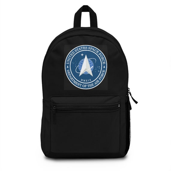 Space Force Insignia Logo, Black Backpack, From Official USSF Seal, Military