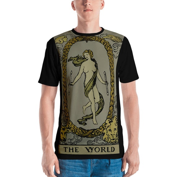 The World Tarot Card, Unisex T-shirt, Vintage, Antique Illustration