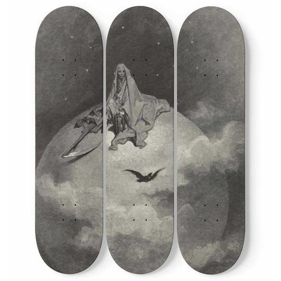 Death Sits Atop The World, Skateboard Wall Art, 3 Maple Decks/Boards, Vintage, Antique Illustration, Gustave Dore, 1886