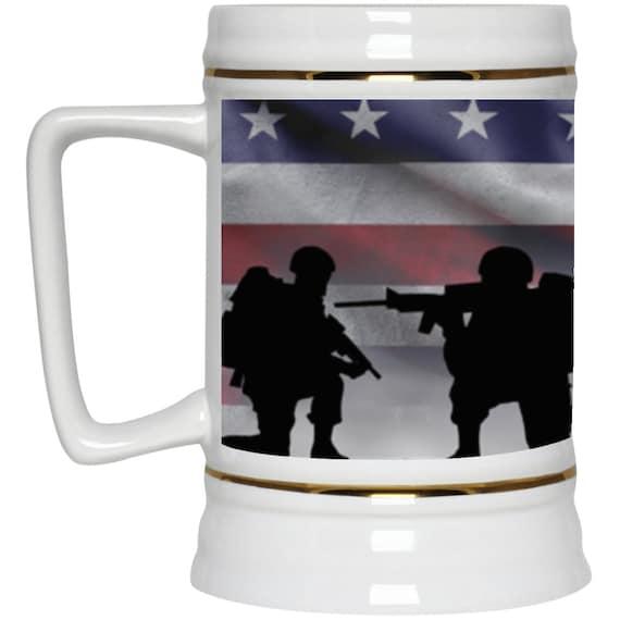 American Soldiers 22oz. Beer Stein, American Flag, Patriotic, Patriotism, U.S. Military