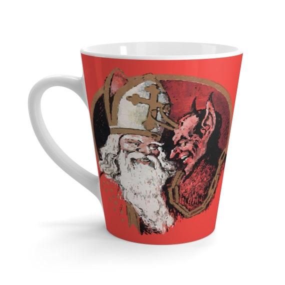 St. Nicholas & Krampus, 12oz Latte Mug, Christmas, Vintage Image, German Postcard