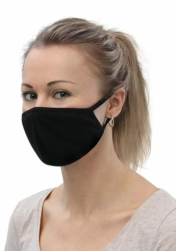 Petite Face Masks, Black, 3-Pack, Machine Washable, Reusable, Comfortable, Breathable, Two Layers Of Fabric