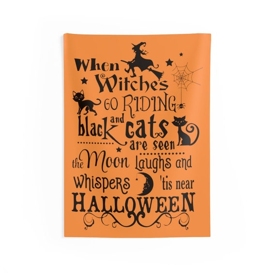 """When Witches Go Riding, 26""""x36"""" Indoor Wall Tapestry, Halloween Sign, All Hallow's Eve, Black Cats, Wall Decor, Witchcraft, Room Decor"""