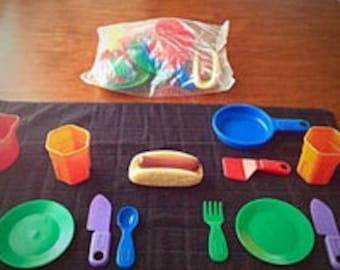 Little Tikes Tableware Place Settings for 2  ***FACTORY SEALED*** Pretend Play Tableware Dishes Dinnerware Set