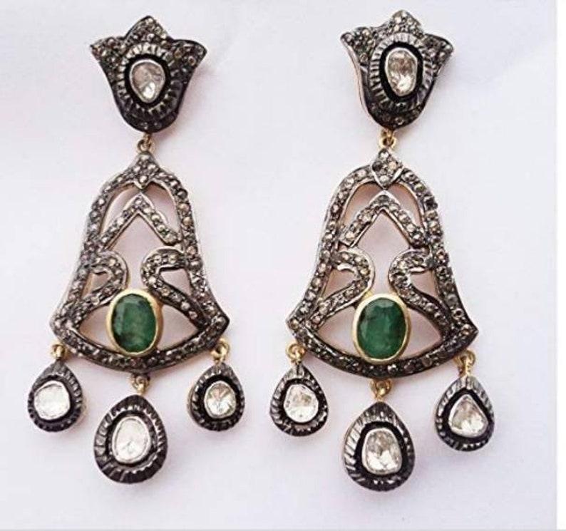 Diamond Rose Handmade Jade Earrings