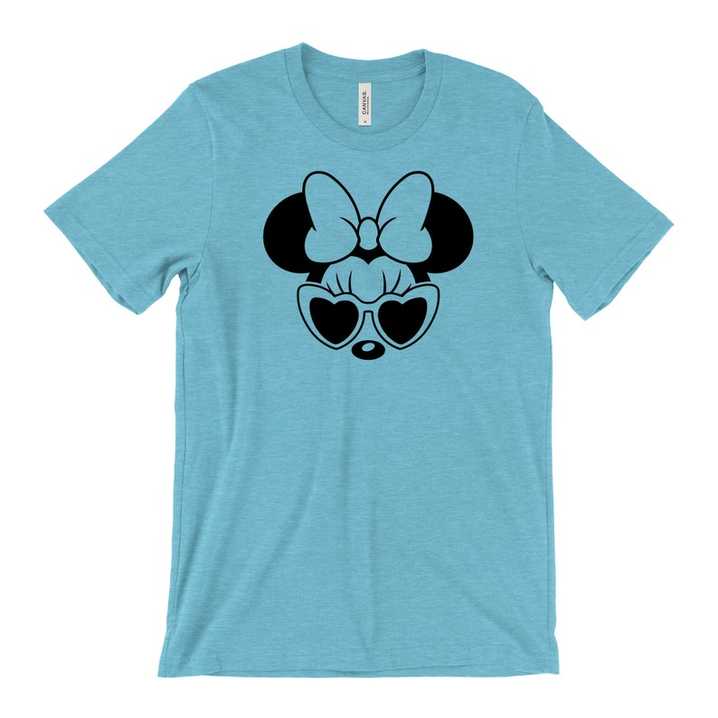 Disney Vacation Tee Disney Minnie Tee Disney Family Shirts Disney Tee for Women Minnie Mouse Heart Sunglasses Tee Disney Mom Shirt
